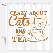 Crazy about cats and tea Shower Curtain
