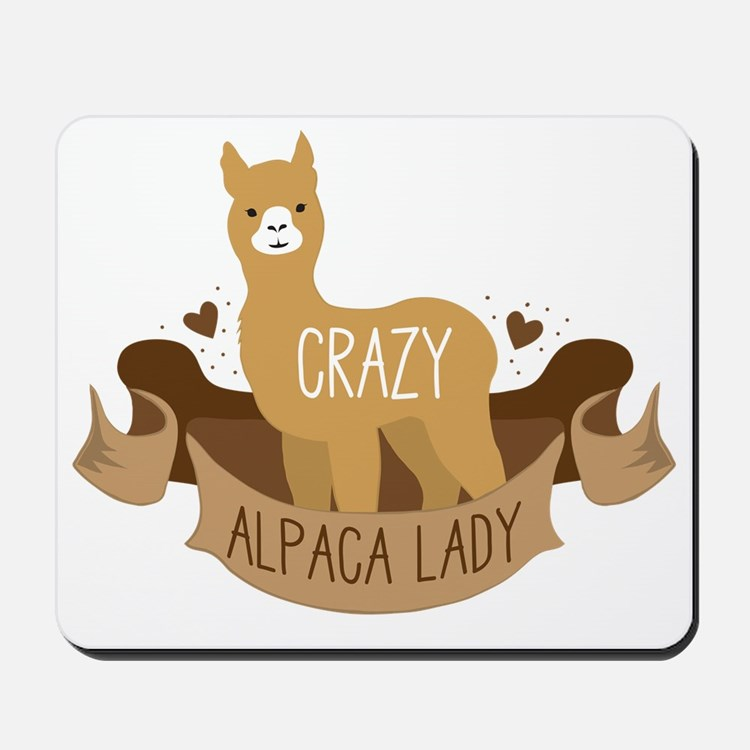 Crazy Alpaca lady Mousepad