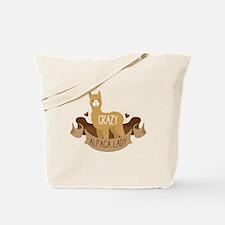 Crazy Alpaca lady Tote Bag
