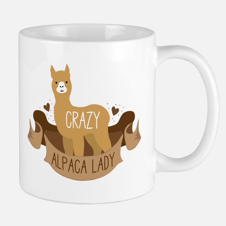 Crazy Alpaca lady Mugs