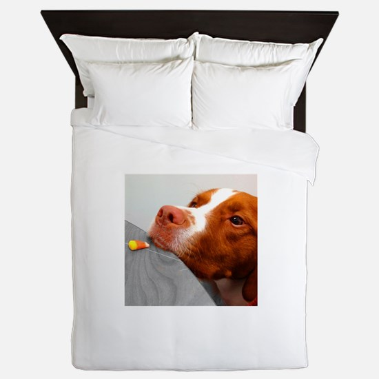 Candy corn dog Queen Duvet