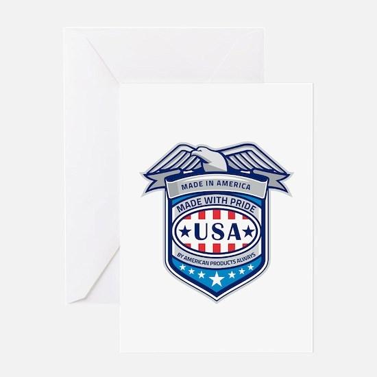 Made In America Eagle Patriotic Shield Retro Greet