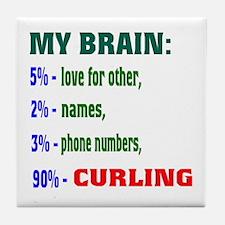 My Brain, 90% Curling . Tile Coaster