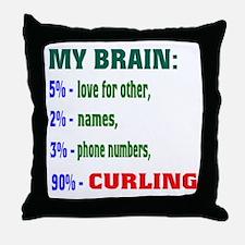 My Brain, 90% Curling . Throw Pillow