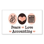 Peace Love Accounting Accountant Sticker (Rectangu