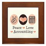 Peace Love Accounting Accountant Framed Tile