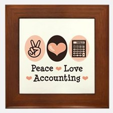 Peace Love Accounting Accountant Framed Tile