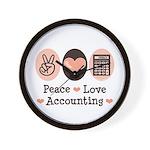 Peace Love Accounting Accountant Wall Clock