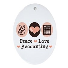 Peace Love Accounting Accountant Oval Ornament
