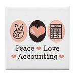 Peace Love Accounting Accountant Tile Coaster