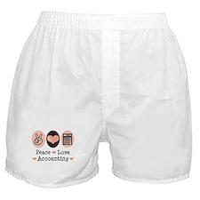 Peace Love Accounting Accountant Boxer Shorts