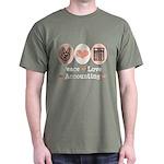 Peace Love Accounting Accountant Dark T-Shirt