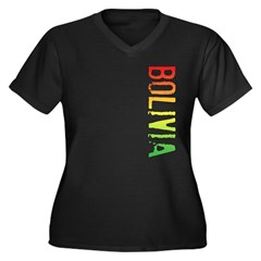 Bolivia Stamp Women's Plus Size V-Neck Dark T-Shir