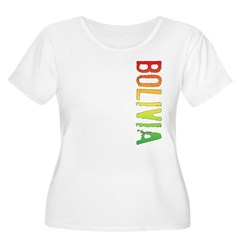 Bolivia Stamp Women's Plus Size Scoop Neck T-Shirt