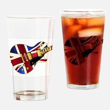 Union Jack Flag Guitar Drinking Glass