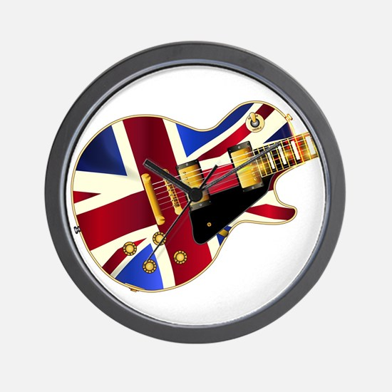 Union Jack Flag Guitar Wall Clock