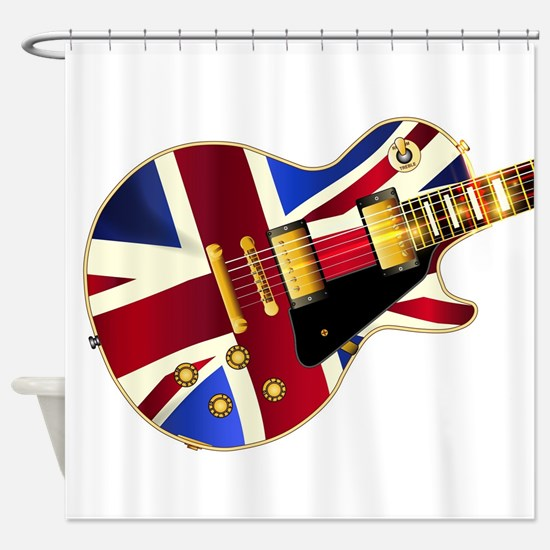 Union Jack Flag Guitar Shower Curtain