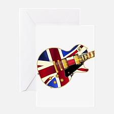 Union Jack Flag Guitar Greeting Cards