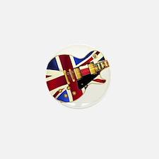 Union Jack Flag Guitar Mini Button