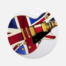 Union Jack Flag Guitar Round Ornament