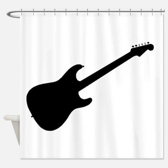 Rock Guitar Silhouette Shower Curtain