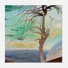 Lonely Cedar Tree Landscape Painting Tile Coaster