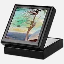 Lonely Cedar Tree Landscape Painting Keepsake Box