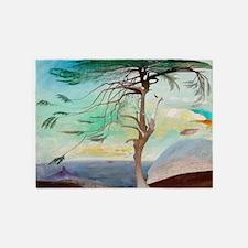 Lonely Cedar Tree Landscape Paintin 5'x7'Area Rug