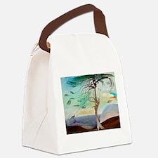 Lonely Cedar Tree Landscape Paint Canvas Lunch Bag