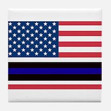 Police Blue Line Tile Coaster