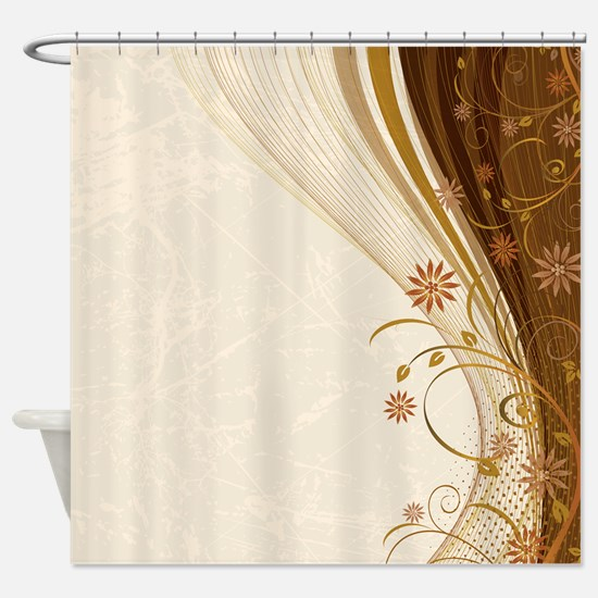 Elegant Floral Abstract Decorative Shower Curtain