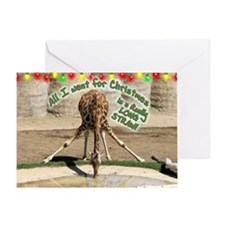 Xmas Drinking Giraffe Greeting Card