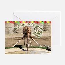 Xmas Drinking Giraffe Greeting Card