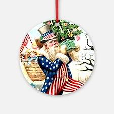 Uncle Sam Santa Claus Tile Ornament (Round)