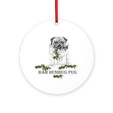 Christmas Pug Holiday Dog Ornament (Round)