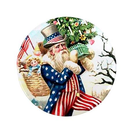 Christmas Santa Claus Uncle Sam Pin Pinback Button