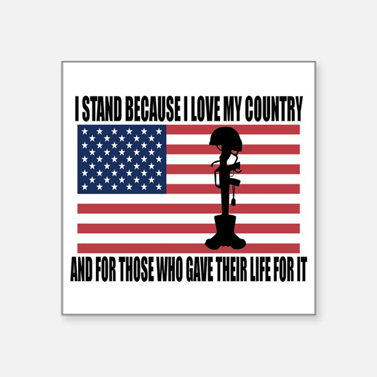 """WHY I STAND Square Sticker 3"""" x 3"""""""