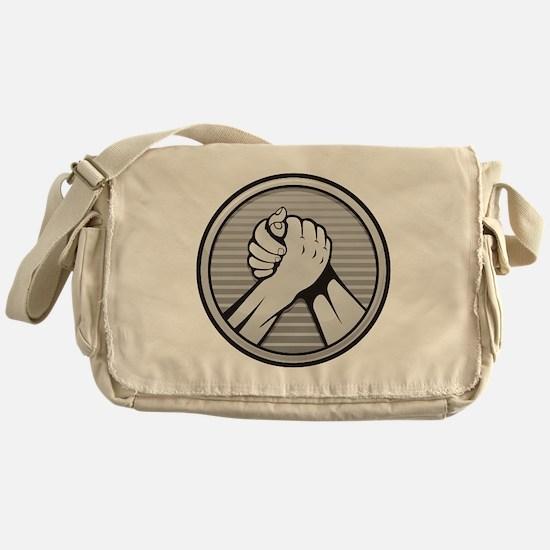 Arm wrestling Silver Messenger Bag