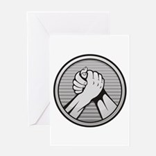 Arm wrestling Silver Greeting Cards