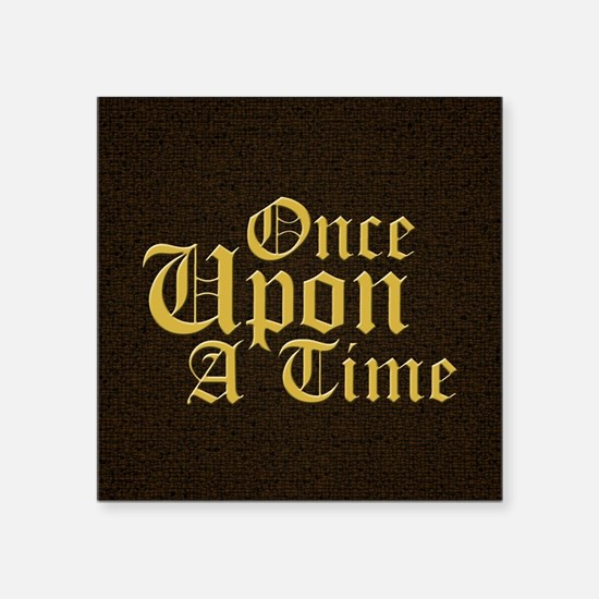 "Once Upon a Time Leather Square Sticker 3"" x 3"""