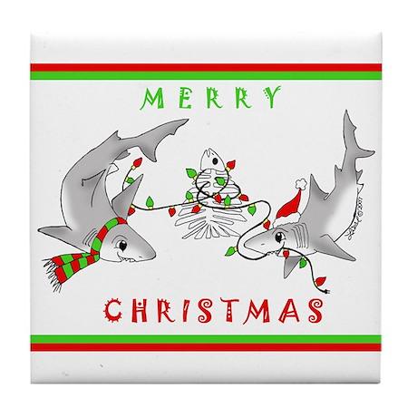 Christmas Sharks Tile Coaster