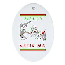 Christmas Sharks Oval Ornament