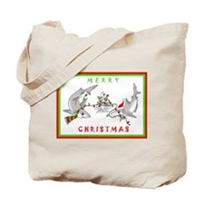 Christmas Sharks Tote Bag