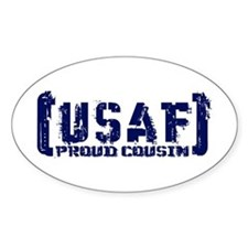 Proud USAF Csn - Tatterd Style Oval Decal