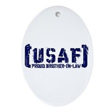 Proud USAF BroNlaw - Tatterd Style Oval Ornament
