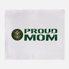 U.S. Army: Proud Mom (Green & White) Throw Blanket