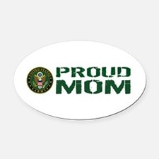 U.S. Army: Proud Mom (Green & Whit Oval Car Magnet