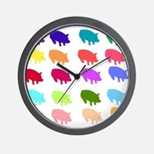 Rainbow Pigs Wall Clock