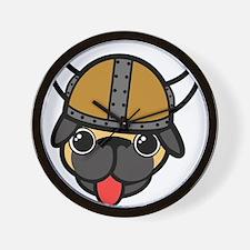 Viking Pug Wall Clock