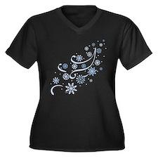 Winter Snow Women's Plus Size V-Neck Dark T-Shirt